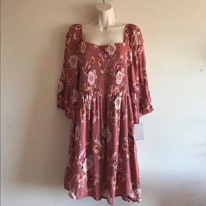 Xhilaration Floral Bell Sleeve Mini Dress